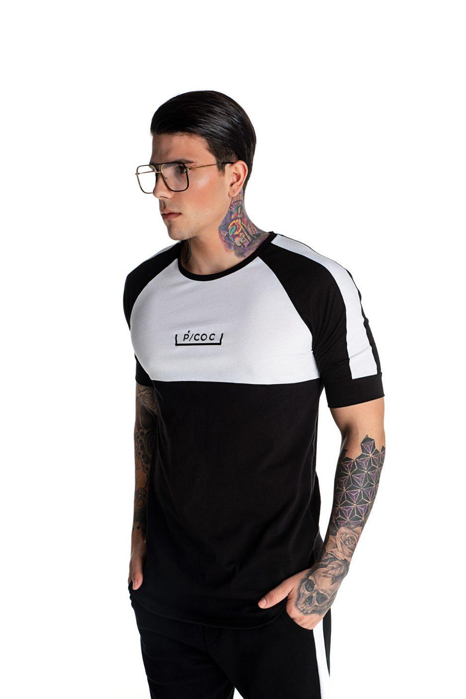 Ασπρόμαυρο t-shirt με λογότυπο μπροστά