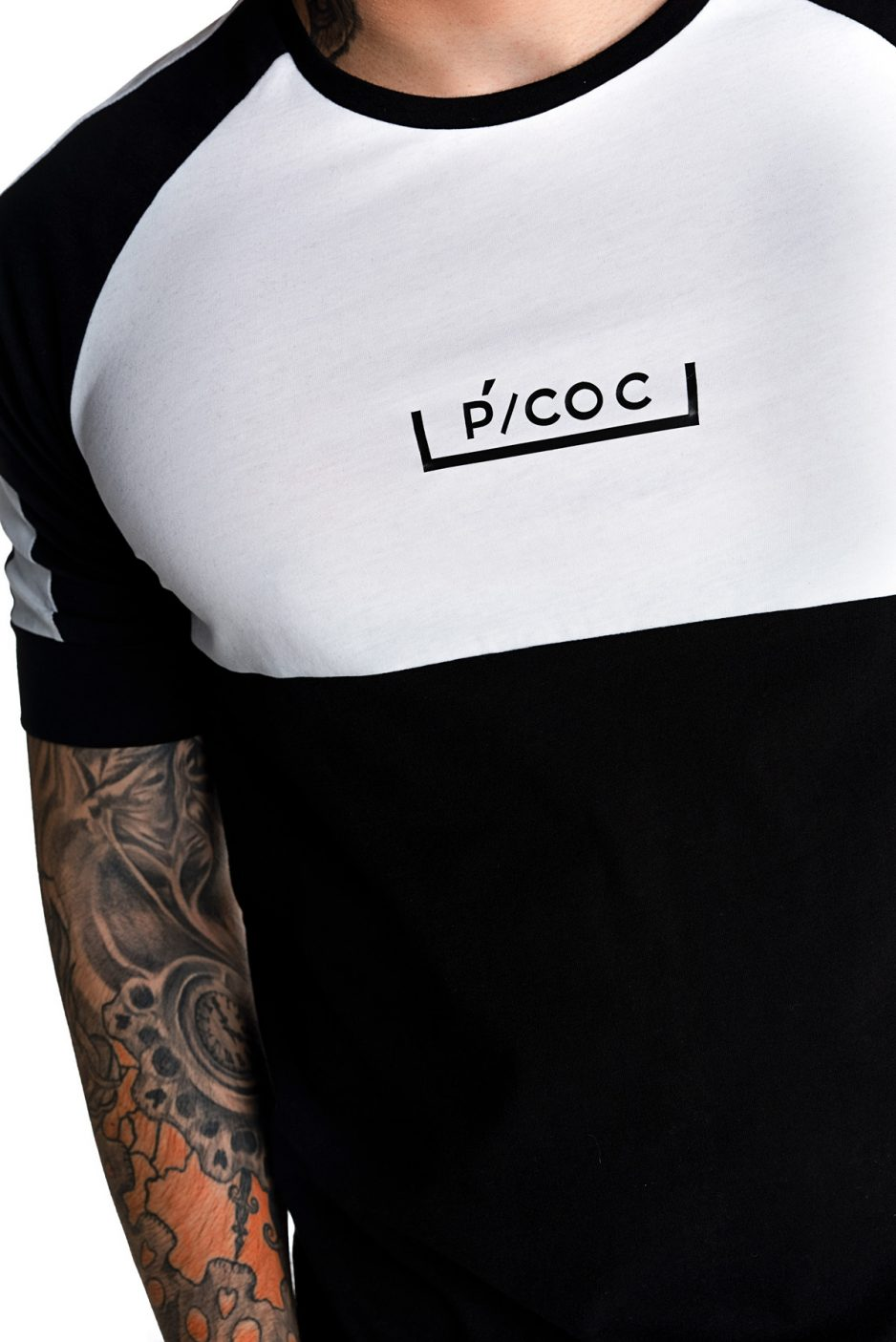 Black and white t-shirt with P/COC logo in front