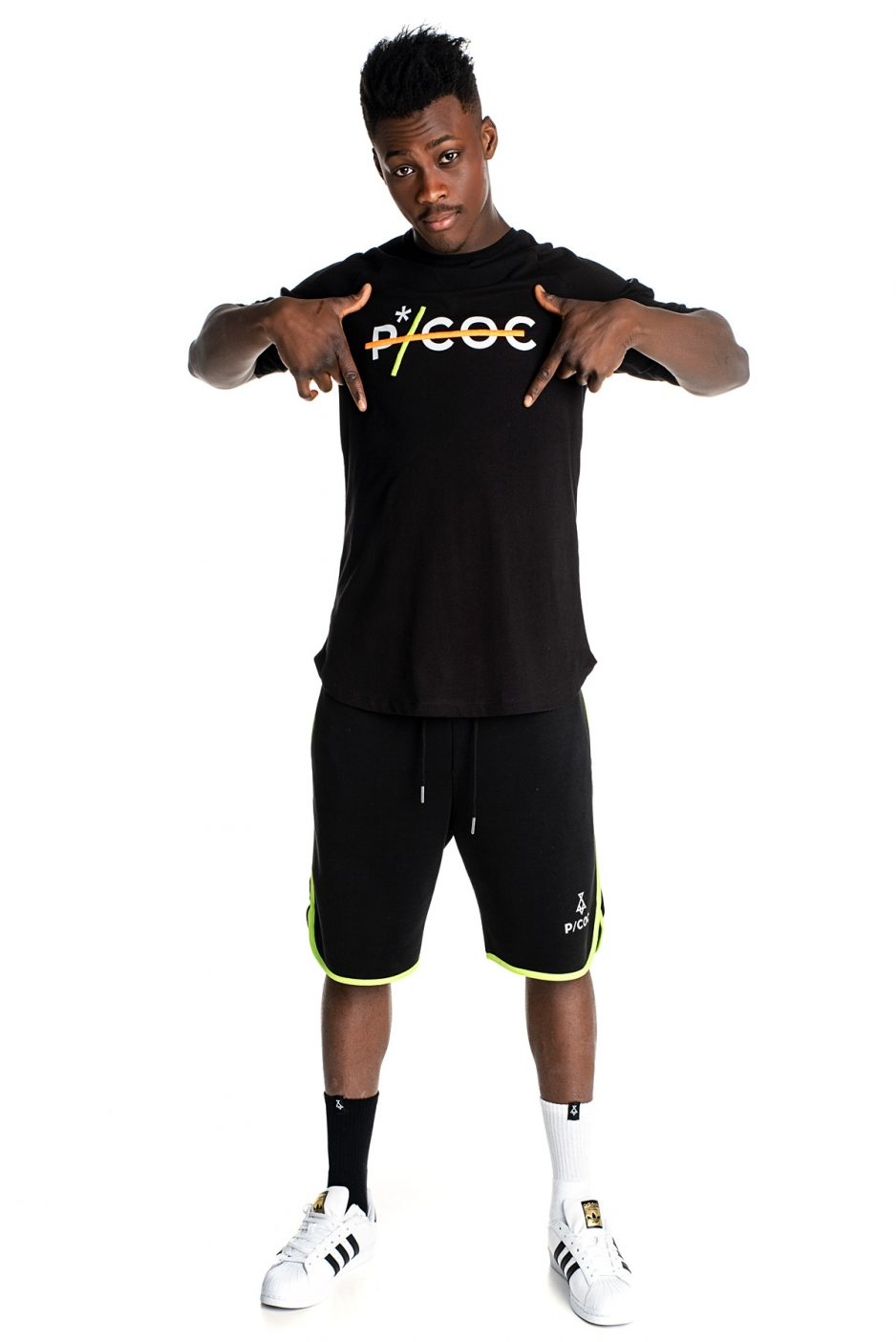 Black P/COC spring hoodie with fluo details