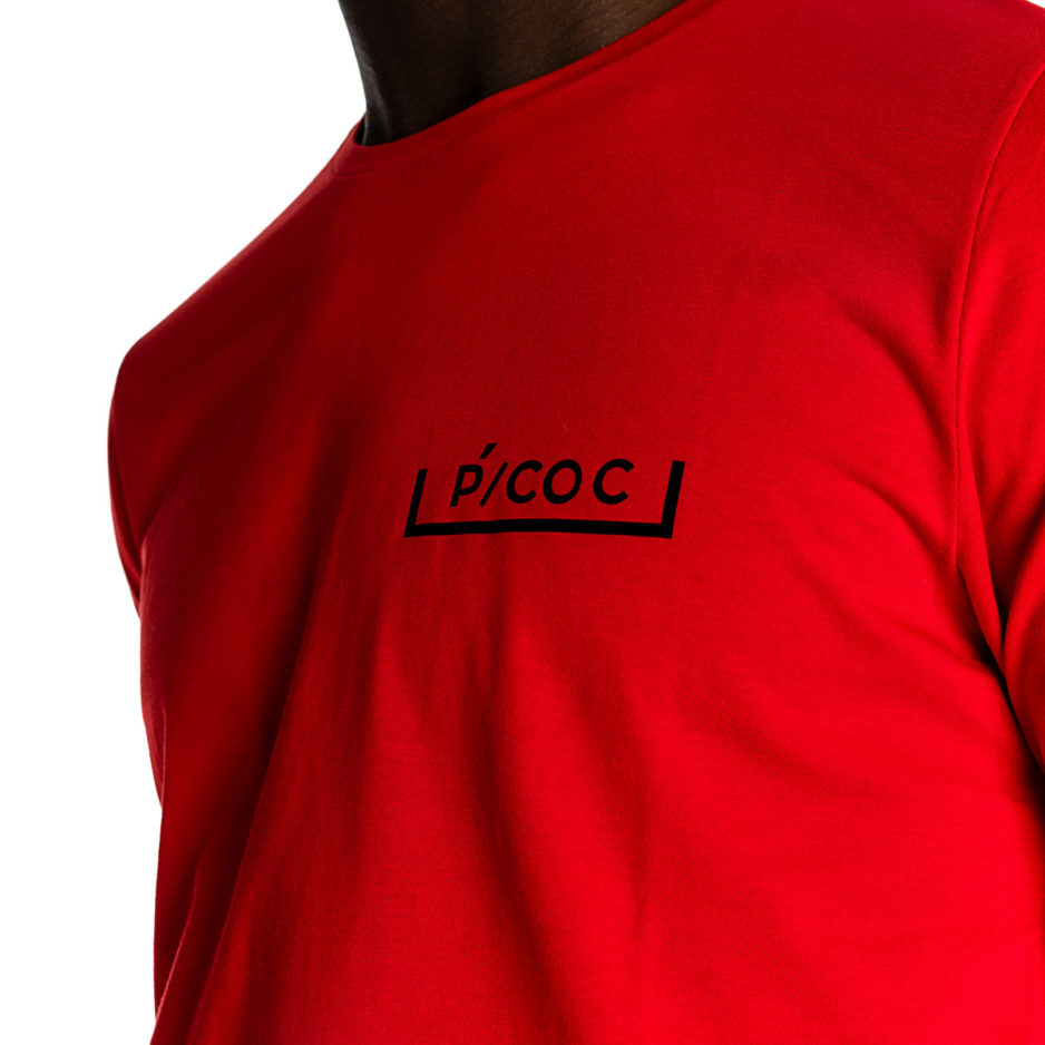Red P/COC t-shirt with logo in front