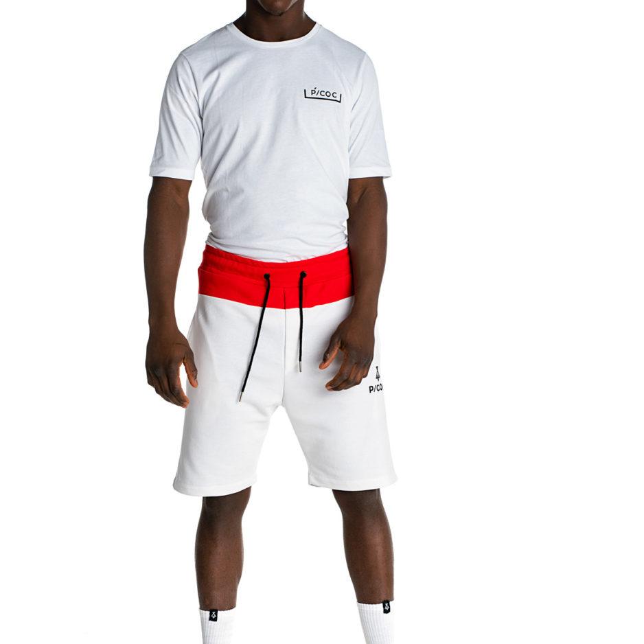 Λευκό t-shirt με λογότυπο P/COC μπροστά