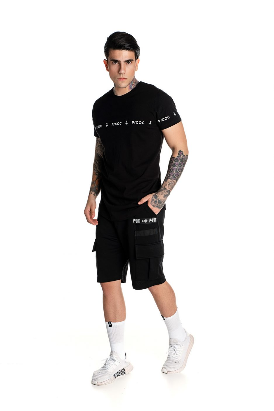 Black P/COC t-shirt with logo on sleeves