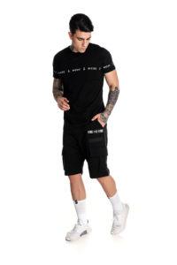 Μαύρο t-shirt με λογότυπο P/COC στα μανίκια