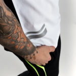 Black and white t-shirt with fluo and reflective details