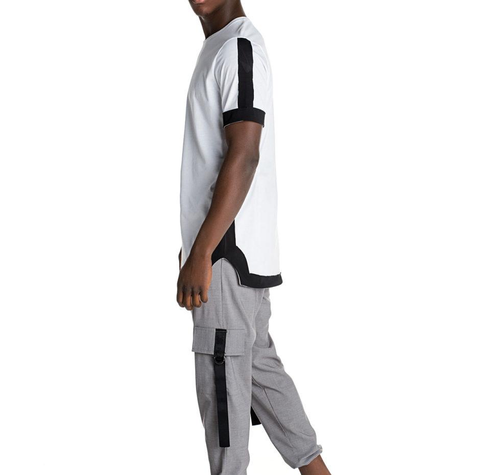 White asymmetric t-shirt with black poplin details