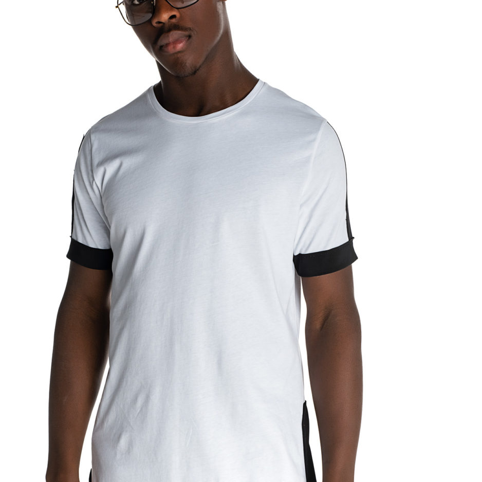 White asymmetric t-shirt with black poplin details