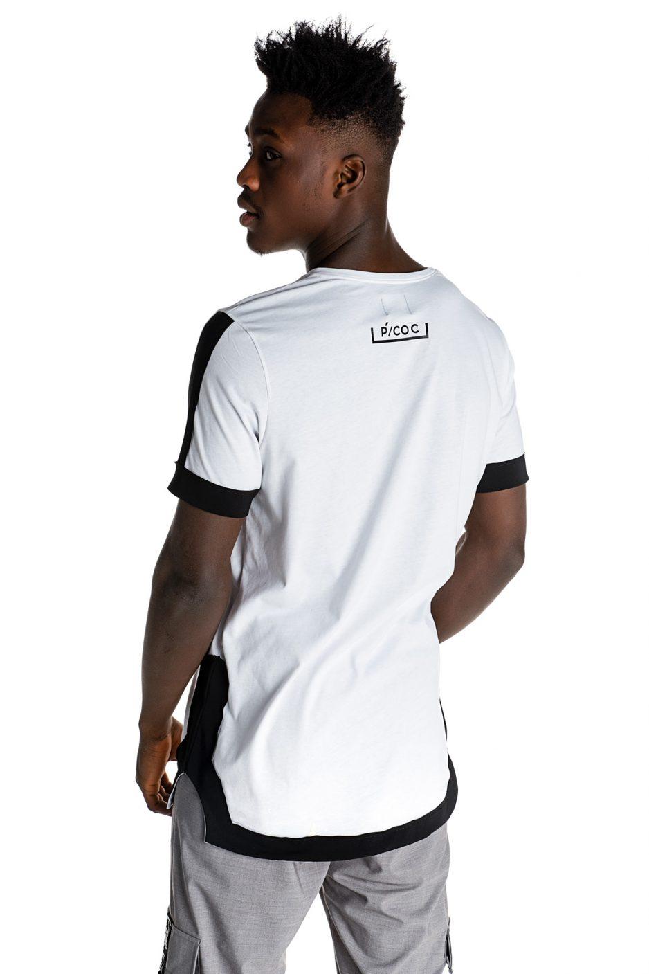 Λευκό ασύμμετρο t-shirt με μαύρες contrast λεπτομέρειες