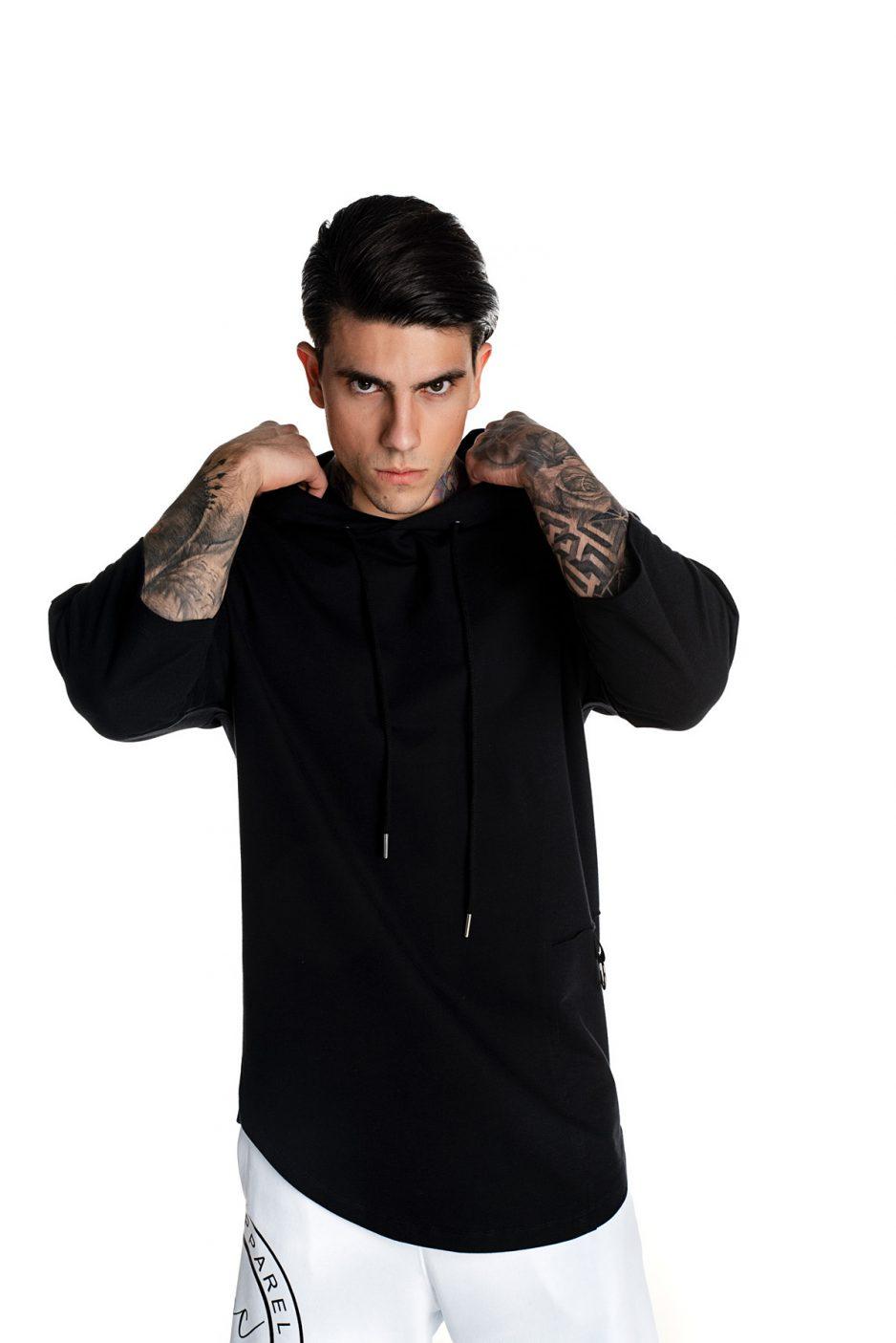 Black asymmetric spring hoodie
