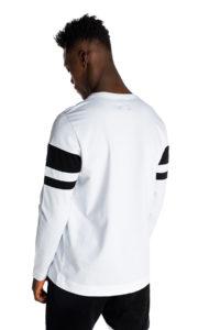Λευκή μπλούζα με ρίγες και λογότυπο P/COC μπροστά