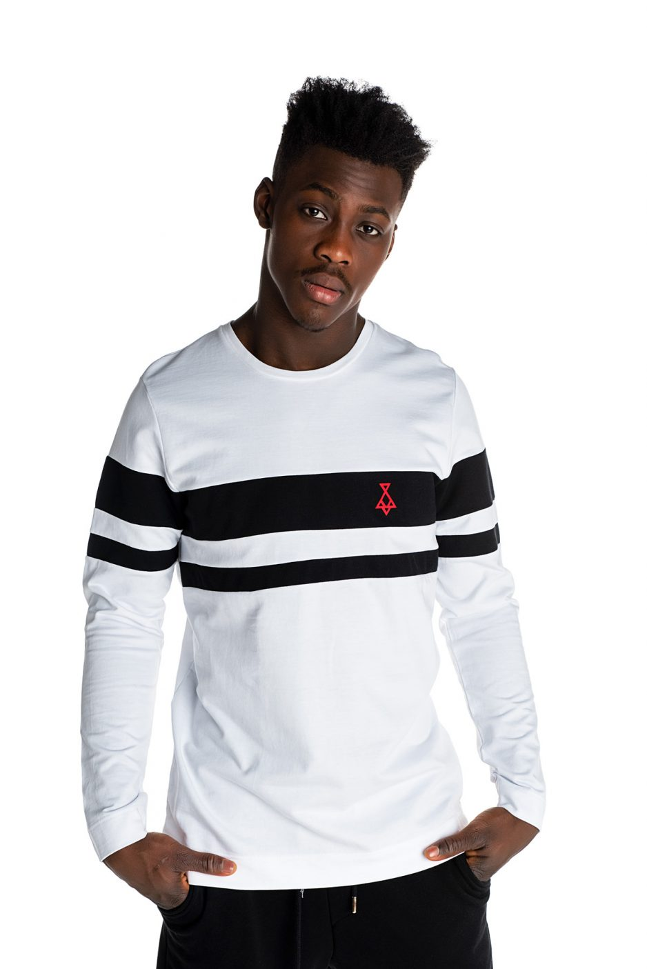 White blouse with red P/COC logo in front