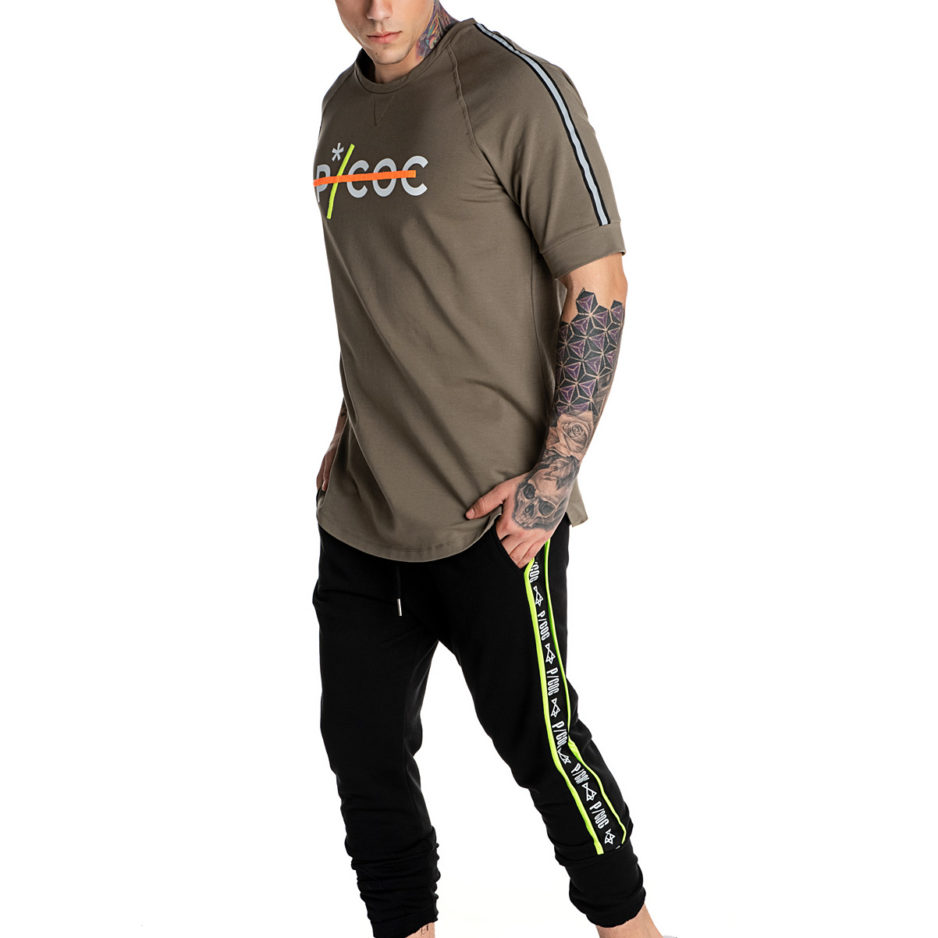 Khaki P/COC spring hoodie with fluo details