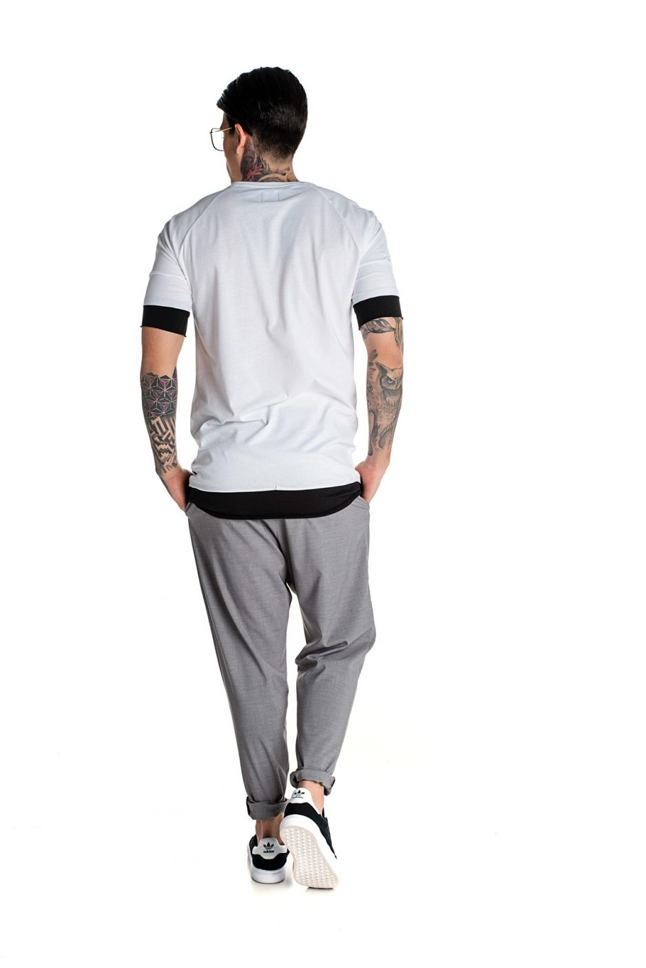 Double fabric t-shirt with P/COC logo in front