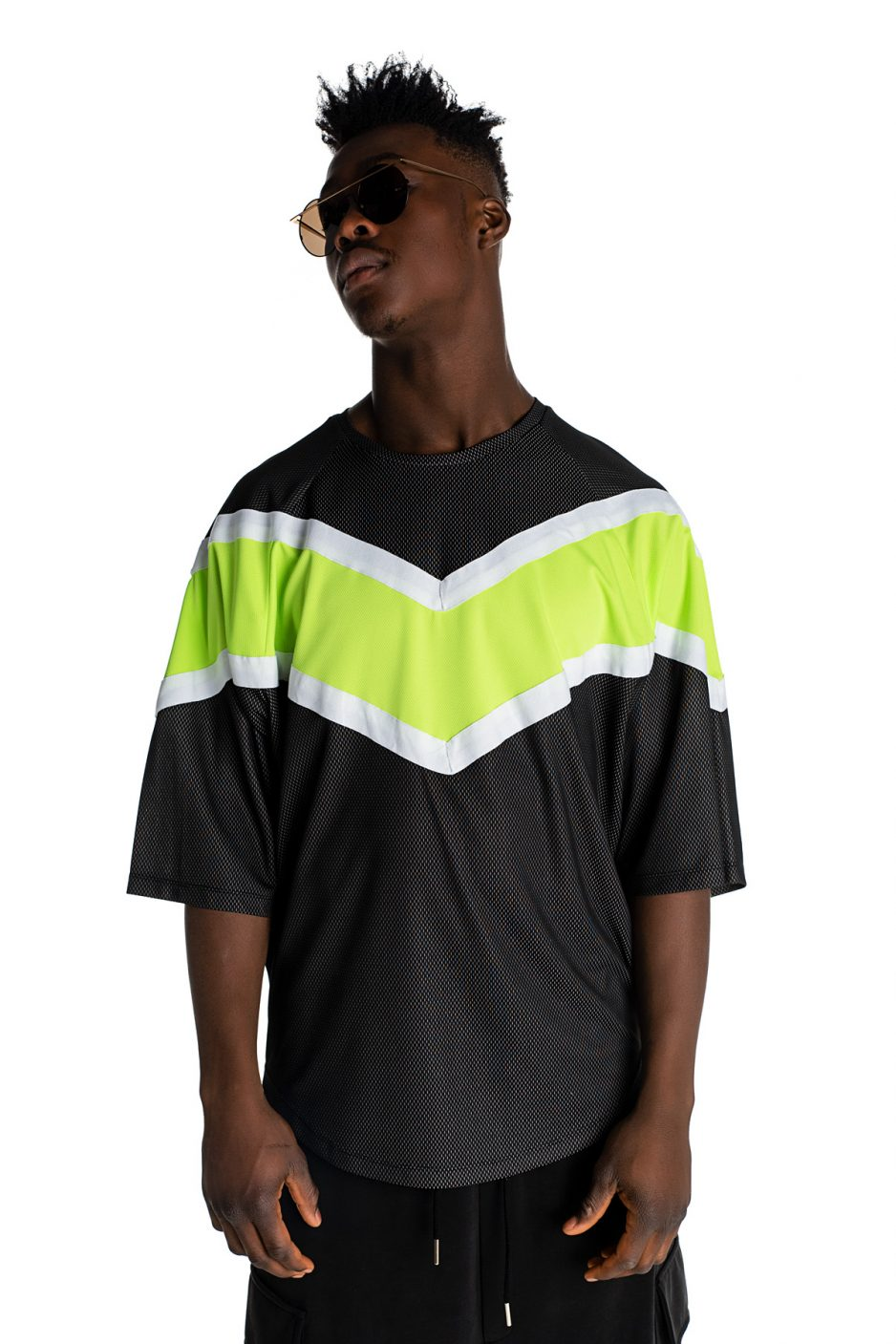 Wide t-shirt with neon details
