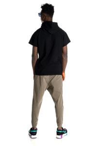 Black hoodie with asymmetric details