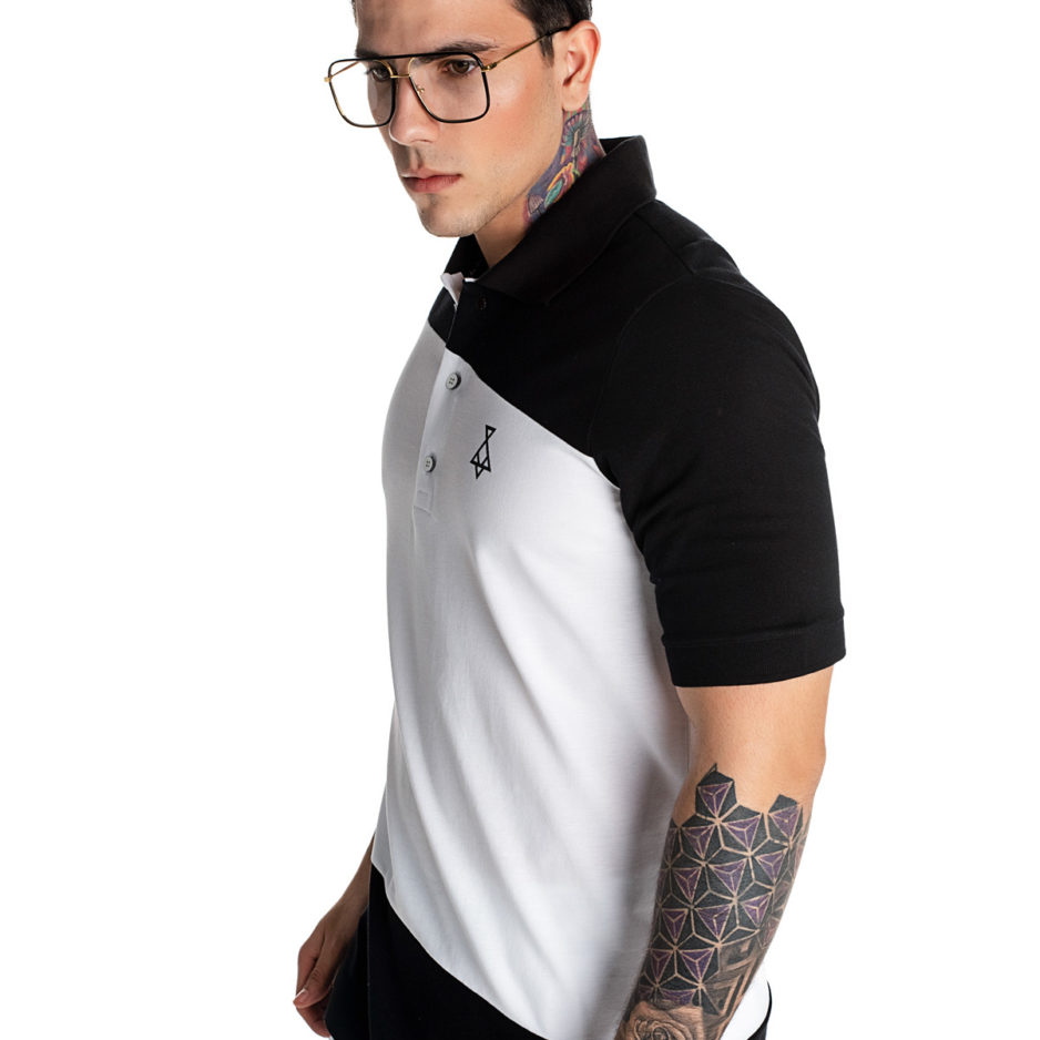Black and white P/COC polo t-shirt